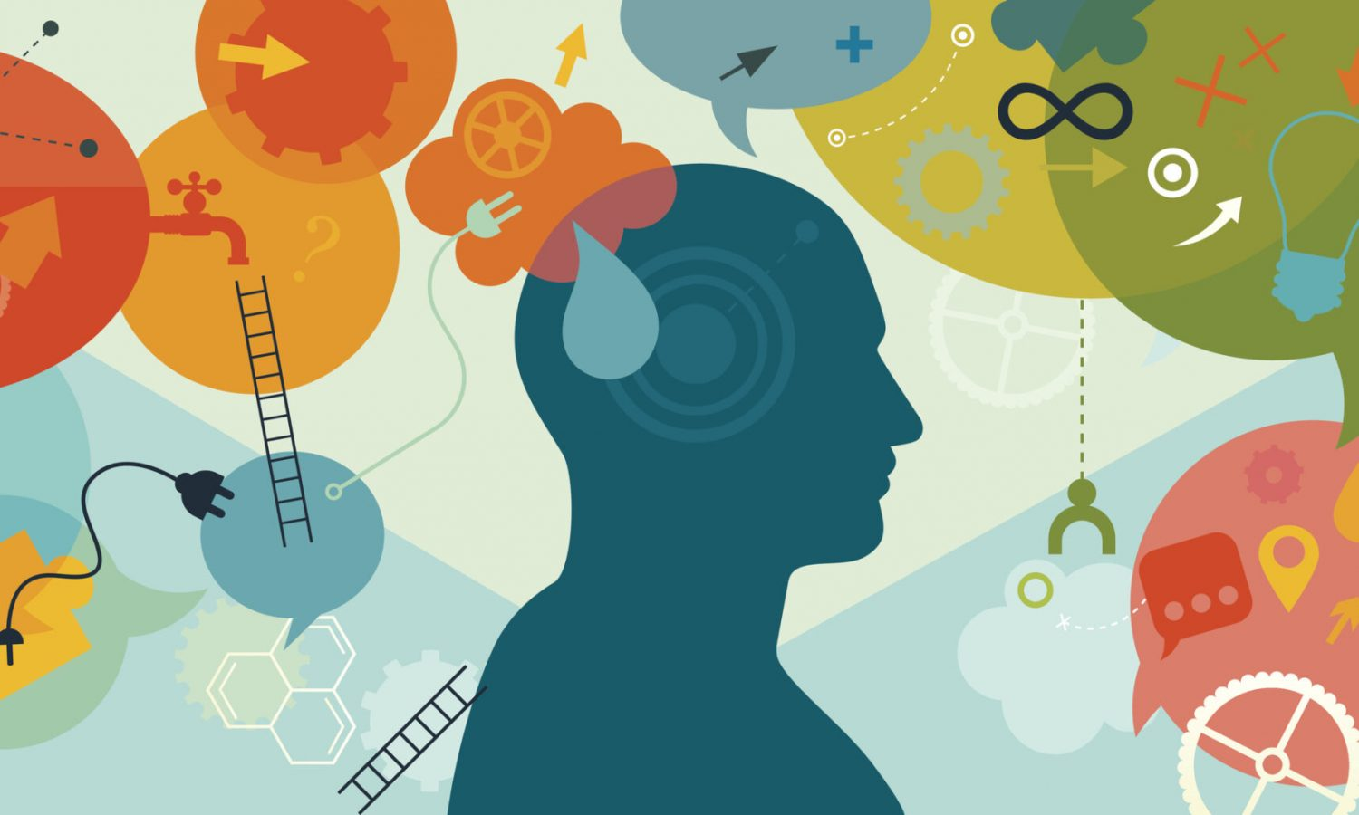 Horizontal vector illustration is showing a thinking person. The man silhouette is placed into the centre of the illustration. All around silhouette there are different elements which are showing different processes and approaches while solving a problem. We can see the electric bulb a metaphor/symbol for new idea; puzzles for looking the right parts; ladders for improvement; gears and wheels for thinking; speech bubbles for different thoughts/ideas; arrows for directions of thinking; question mark for questioning and self verification; connectors for integration, water pipe for knowledge ect.  We can also see the mathematical sign for eternity or infinity, in this case a metaphor for something that seems like it will go on for forever. Illustration is vibrant and eye catching and also nicely layered.